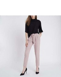 River Island Light Pink Tie Waist Tapered Pants