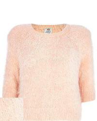 Light pink fluffy 34 sleeve sweater medium 80071