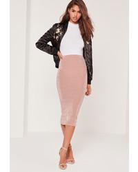 Missguided Textured Slinky Midi Skirt Pink
