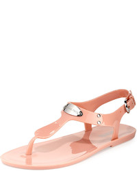 b57acbe16d3 ... MICHAEL Michael Kors Michl Michl Kors Logo Plate Jelly Flat Thong Sandal  Pale Pink