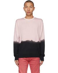 Alexander McQueen Pink Black Dip Dye Printed Sweater