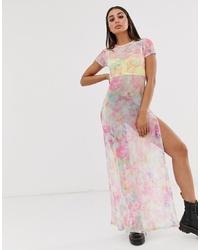 Boohoo Festival Mesh Maxi Dress With Side Splits In Pink Tie Dye