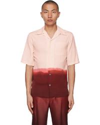 Alexander McQueen Pink Burgundy Gradient Print Short Sleeve Shirt