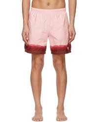 Alexander McQueen Pink Burgundy Dip Dye Printed Swim Shorts
