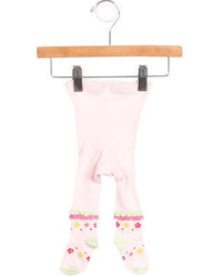 Catimini Girls Pattenred Ruffle Accented Tights
