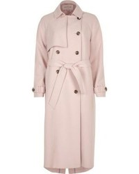 River Island Light Pink Oversized Trench Coat