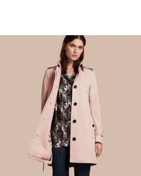 Burberry Single Breasted Trench Coat With Metal Buckle Detail