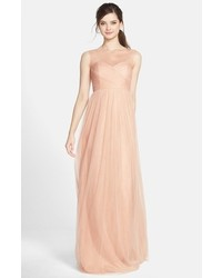 Aria illusion yoke pleated tulle gown medium 1009139