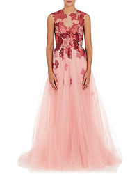 Monique Lhuillier Flower Embellished Tulle Ball Gown