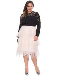 d30032a3454 ... ELOQUII Plus Size Studio Layered Tulle Midi Skirt ...