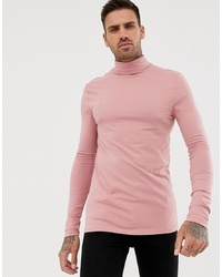 ASOS DESIGN Muscle Fit Long Sleeve T Shirt With Roll Neck In Pink