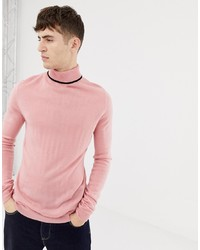 Collusion Muscle Fit Roll Neck Jumper In Pink