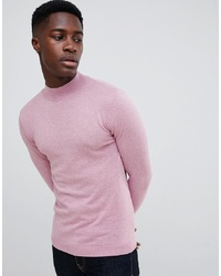 ASOS DESIGN Muscle Fit Turtle Neck Jumper In Pink