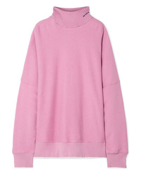 Calvin Klein 205W39nyc Oversized Embroidered Distressed French Cotton Terry Turtleneck Sweatshirt