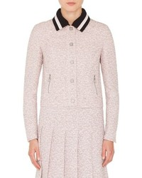 Akris Punto Button Front Tweed Jacket With Detachable Knit Collar