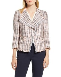 Anne Klein Cotton Blend Tweed Fringe Jacket