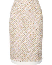Oscar de la Renta Canvas Trimmed Metallic Tweed Pencil Skirt Baby Pink