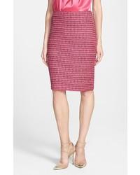 St. John Collection Heather Dash Tweed Knit Pencil Skirt Haute Pink Multi 8