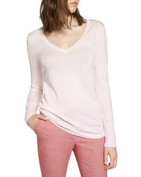Halogen Cotton Blend V Neck Sweater