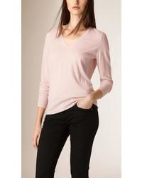 Burberry V Neck Merino Wool Sweater