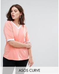 Asos Curve Curve V Neck T Shirt With Panel Details