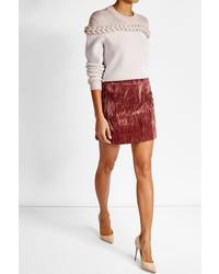 Pink Velvet Mini Skirt