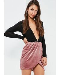 Pink velvet gathered waist asymmetric mini skirt medium 6717126