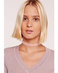 Missguided Skinny Velvet Choker Necklace Pink
