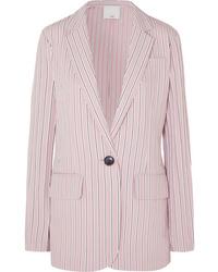 Tibi Oversized Striped Twill Blazer