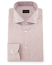 Ermenegildo Zegna Bold Stripe Dress Shirt Burgundywhite