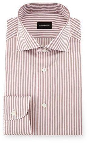 Ermenegildo Zegna Bold Stripe Dress Shirt Burgundywhite