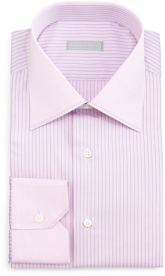Stefano Ricci Contrast Collar Striped Dress Shirt Pink