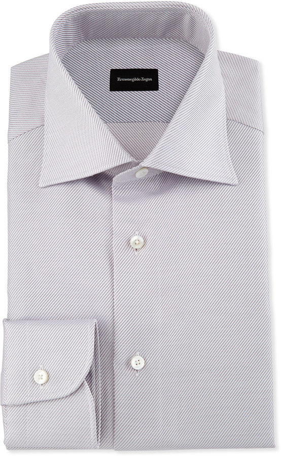 Ermenegildo Zegna Diagonal Stripe Twill Dress Shirt Pink