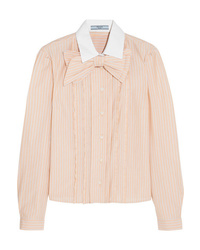 Prada Ed Ruffled Striped Cotton Shirt