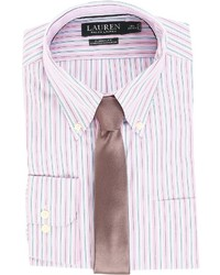 Lauren Ralph Lauren Non Iron Poplin Stretch Classic Fit Button Down Collar Stripe Dress Shirt Clothing