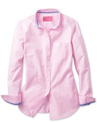 ... Charles Tyrwhitt Pink And White Bengal Stripe Oxford Button Down Semi  Fitted Shirt ... aa31076fd