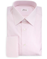 Brioni Rope Stripe French Cuff Dress Shirt Pink