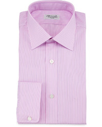 Charvet Striped Barrel Cuff Dress Shirt Pinkblue