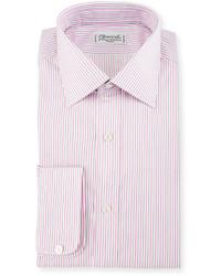 Charvet Striped Dress Shirt Pink