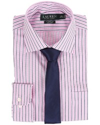 Lauren Ralph Lauren Striped Oxford Spread Collar Classic Button Down Shirt Long Sleeve Button Up