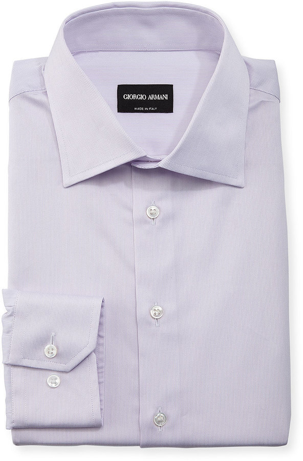 Giorgio Armani Tonal Micro Stripe Long Sleeve Dress Shirt