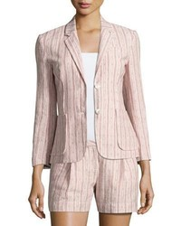 ATM Anthony Thomas Melillo Cotton Linen School Boy Blazer Pink Pattern