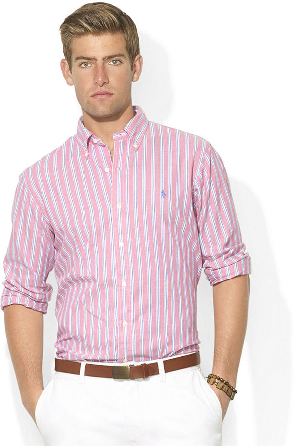 Polo Ralph Lauren Custom Fit Long Sleeve Striped Oxford Sport ...