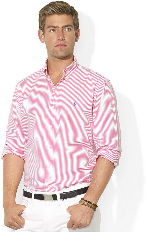 ... Pink Vertical Striped Long Sleeve Shirts Polo Ralph Lauren Shirt Classic  Fit Long Sleeve Striped Poplin Sport Shirt