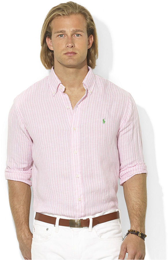 cb7f3f119 ... Polo Ralph Lauren Shirt Custom Fit Long Sleeve Striped Linen Sport Shirt