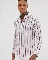 ASOS DESIGN Skinny Pink And Navy Stripe Shirt