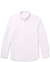 Slim fit button down collar pinstriped cotton poplin shirt medium 3942090