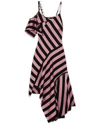 MARQUES ALMEIDA Asymmetric Embellished Striped Satin Twill Midi Dress
