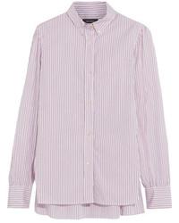 Isabel Marant Lilianne Pinstriped Cotton Poplin Shirt Pastel Pink