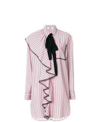 Pink Vertical Striped Shirtdress